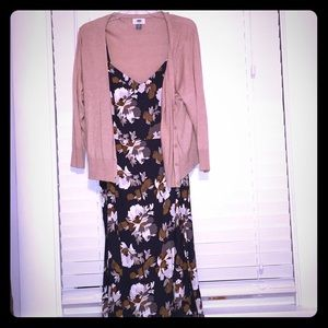 Old Navy blue floral fit and flare dress